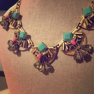Stella & Dot statement necklace pink and torqoise